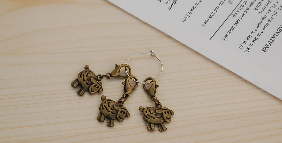 Removable crochet stitch markers - bronze sheep
