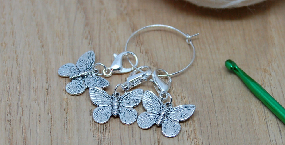 Removable crochet stitch markers - butterflies