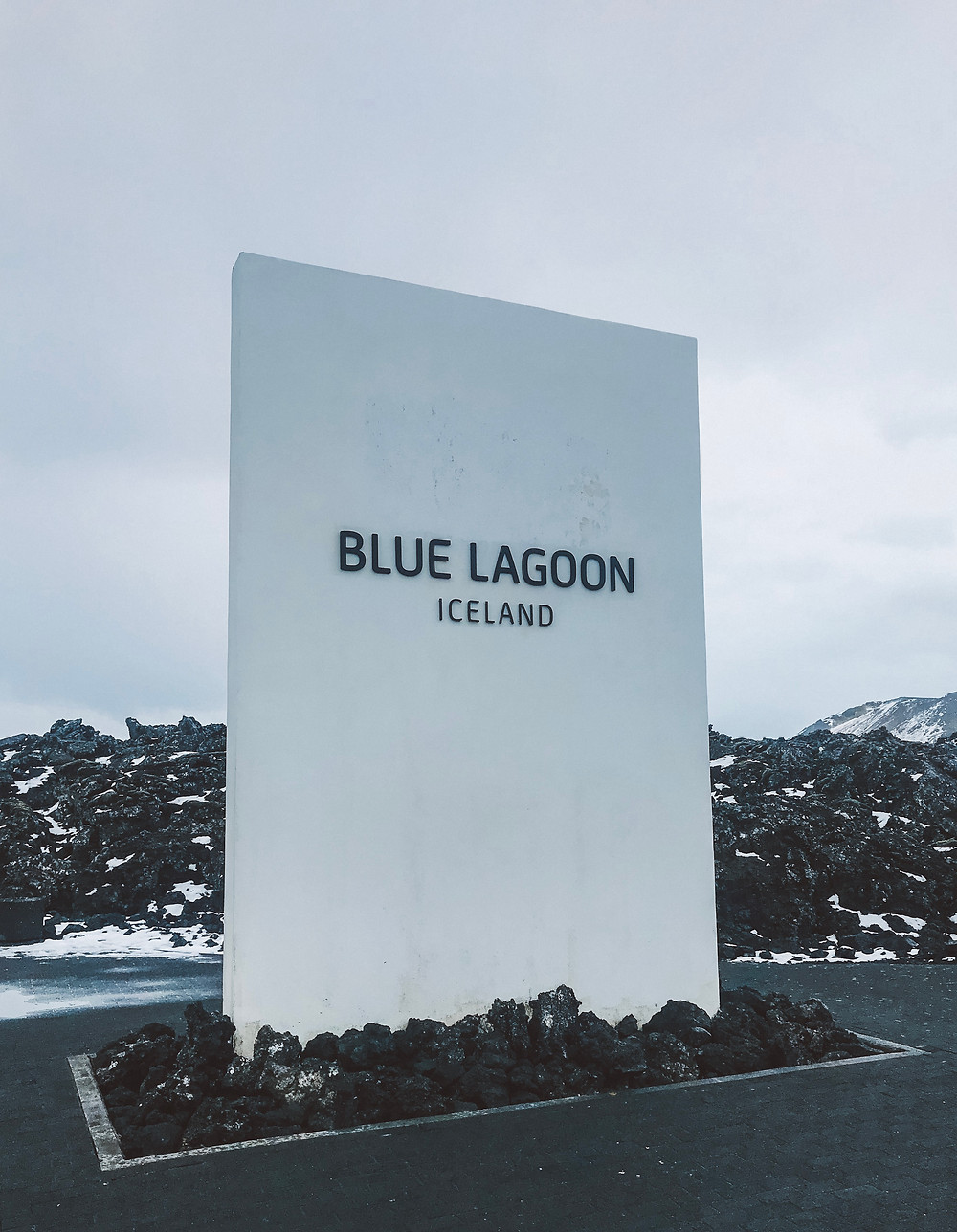 Entrance to the Blue Lagoon surrounded by lava landscape