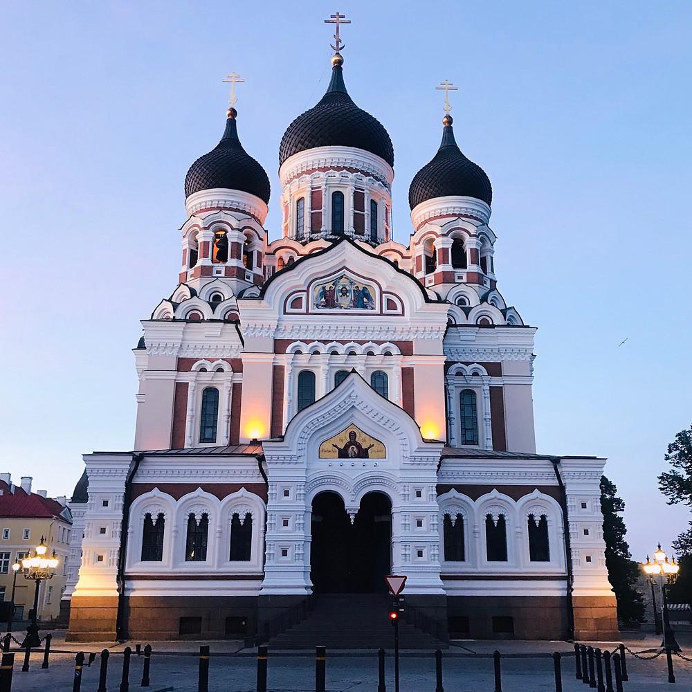 Alexander Nevsky Cathedral at night
