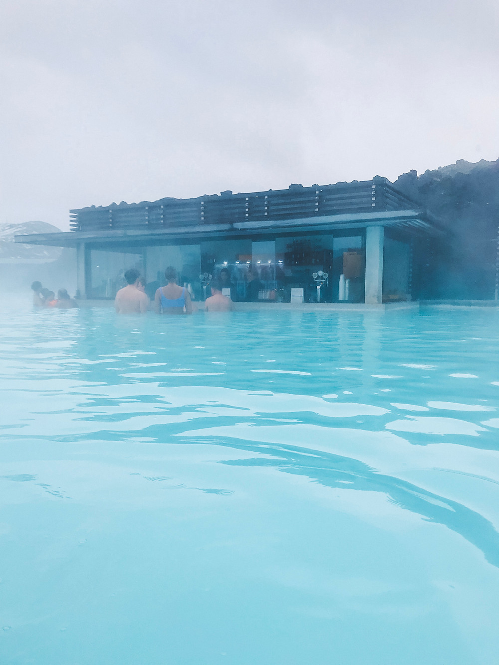 The fully-stocked bar in the Blue Lagoon