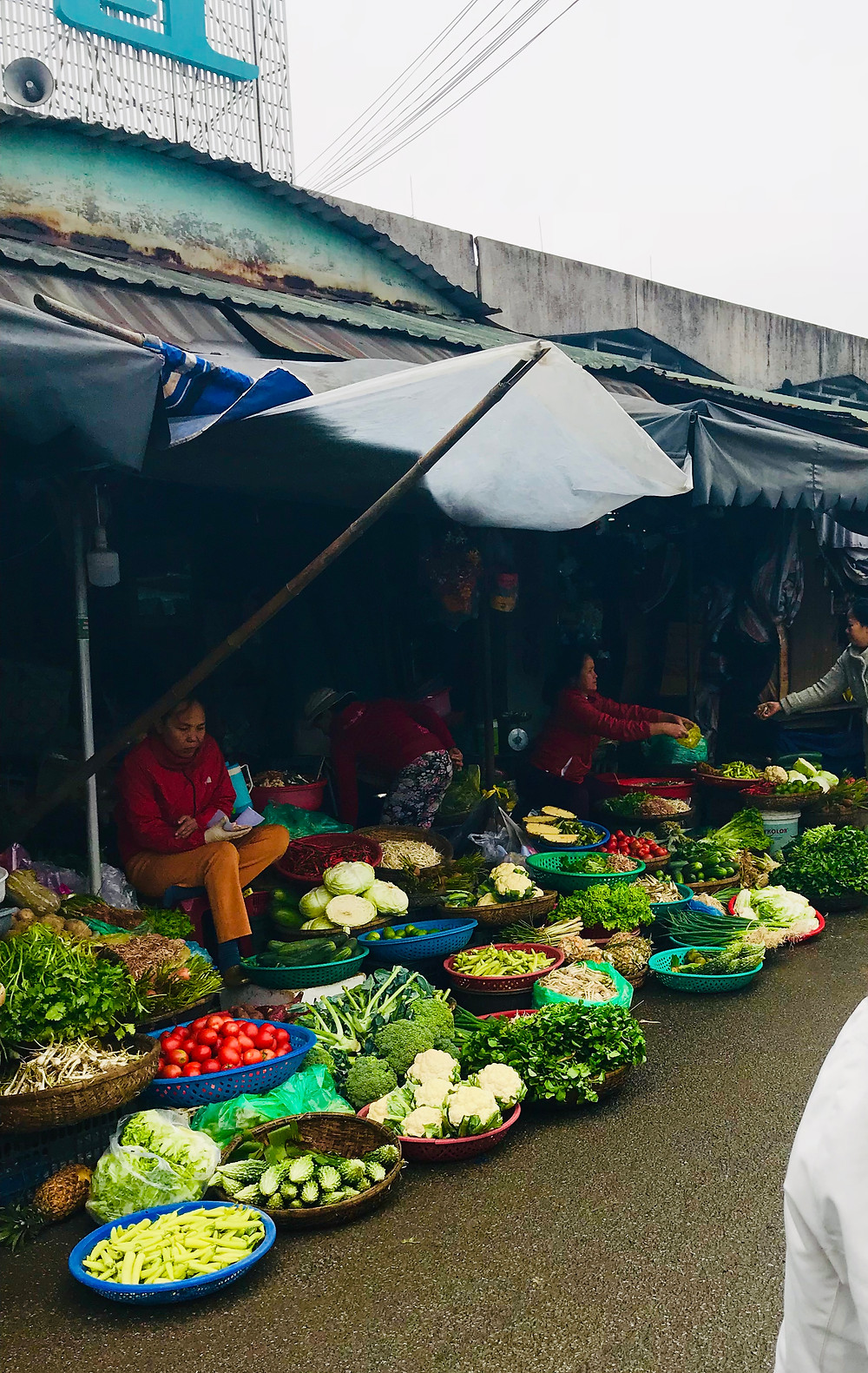 vibrant fresh fruit and vegetables at Dong Ba Market in Hue, Vietnam