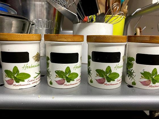 Conjunto 4 potes para temperos com tampa