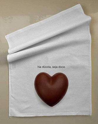 Pano prato + foto coração chocolate