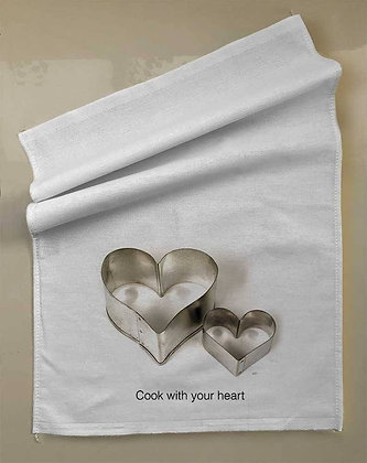Pano de prato+forminha coração