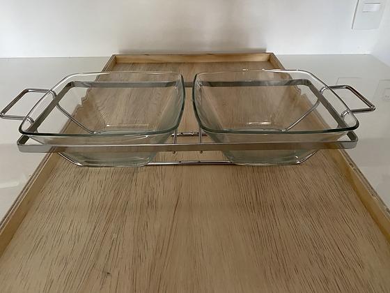 Saladeira dupla de vidro