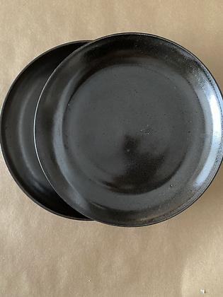 Par pratos cerâmica marrom 26cm