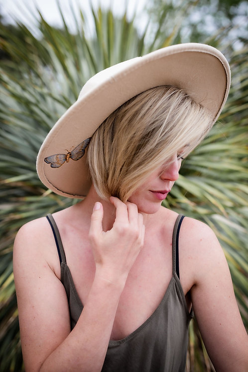 Blue Butterfly Dance - Rancher Style - Cream Felt Hat