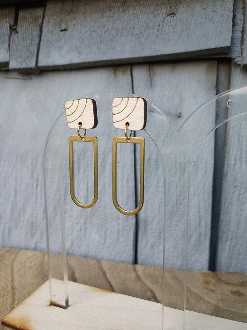 Wood Jewelry -Square 'I' - Modern Earrings