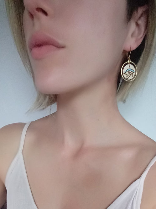 Wood Jewelry - 'Cleo' Earring - Egyptian Eye of Horus