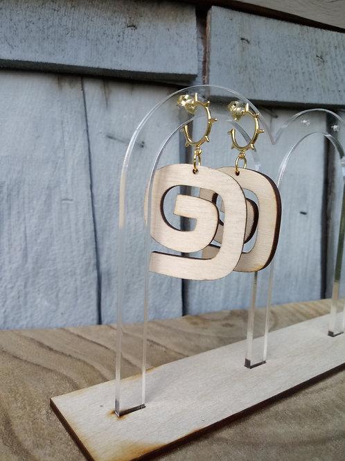 Wood Jewelry - Swanky Swirl - Spike Stud Earring