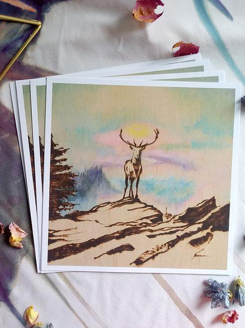 Art Print - Signed Series - 'Solitude' - Wood burned and HandpaintedPrint