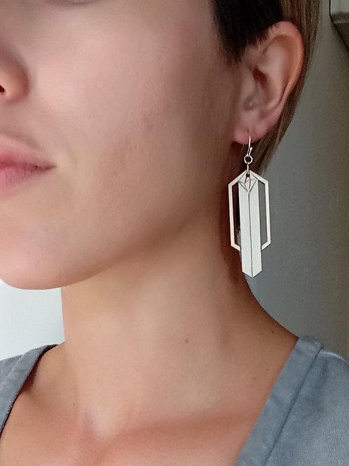 Wood Crystal + Shine Wood Burned Earring - Minimalist