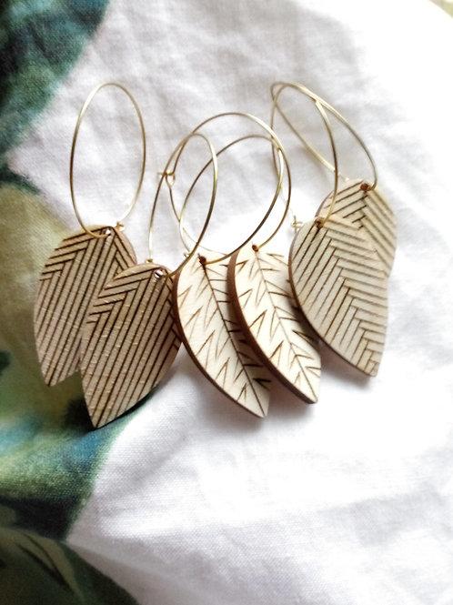 Wood Jewelry - Minimalist Feather/Leaf + Hoop Earring