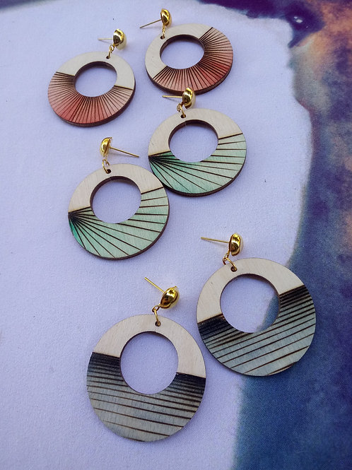 Wood Jewelry - ColorPop Stud Round Earring