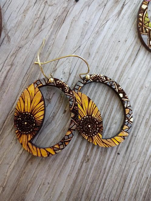 Wood Jewelry - Sunflower Power - Crescent Cutout - Boho Earring
