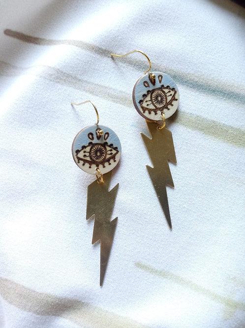 Wood Jewelry - Soft Blue Evil Eye Bolt Earring