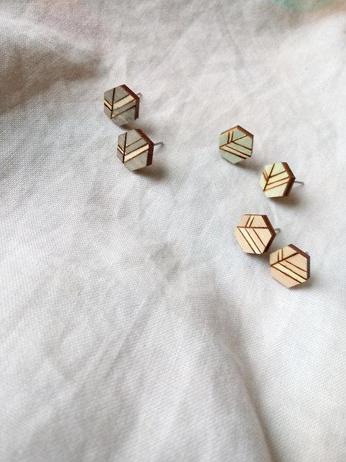 Wood Jewelry - Hexagon Leaf Stud Pack of 3 - Minimalist