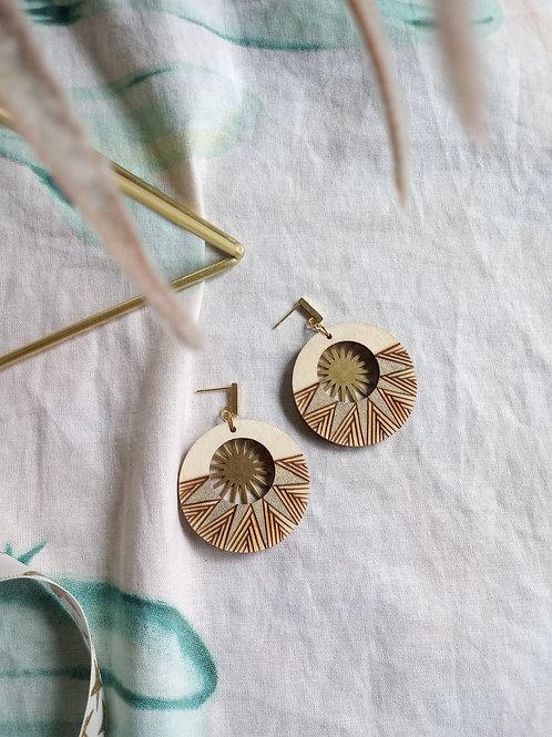 Wood Jewelry - Sunburst Peek-a-boo Statement Earring