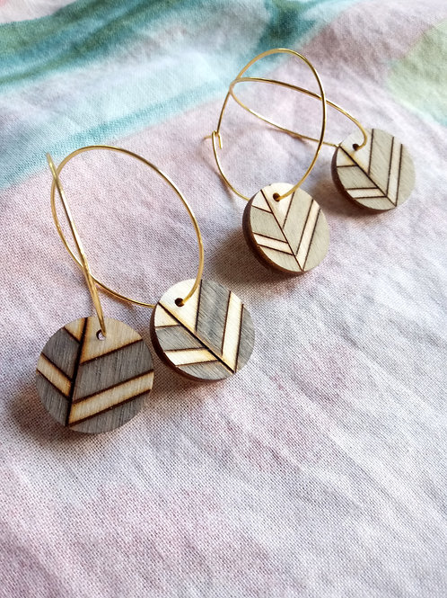 Wood Jewelry - Mini Medallion - Leaf Line Earring