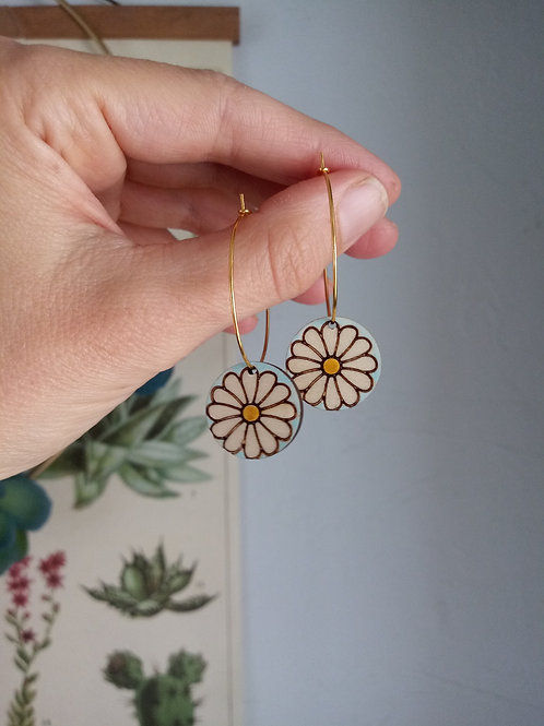 Wood Jewelry - Gerber Daisy Hoop - Spring Earring