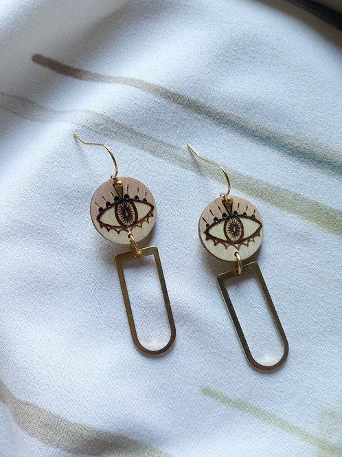 Wood Jewelry - Blush Evil Eye