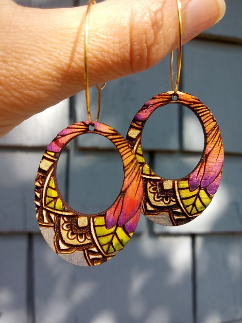 Wood Jewelry - Cosmos - Oval Cutout - Boho Earring