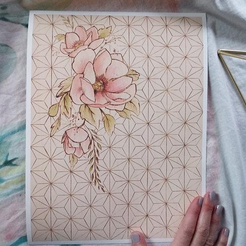 Original Wood Burned Art Print - Draping Peony + Geometric - Limited Edition
