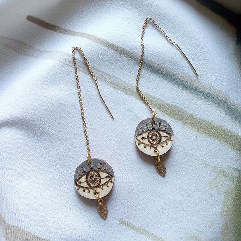 Wood Jewelry -  Charcoal Evil Eye Threader
