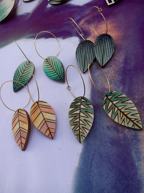 Wood Jewelry - Fall ColorPop Leaves - Handpainted