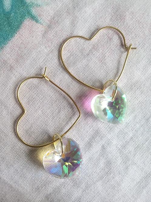 Holographic Heart + Mini Hoop Earring