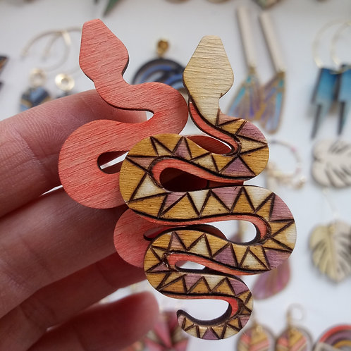 Wood Jewelry -Ziggy Snake - Stud