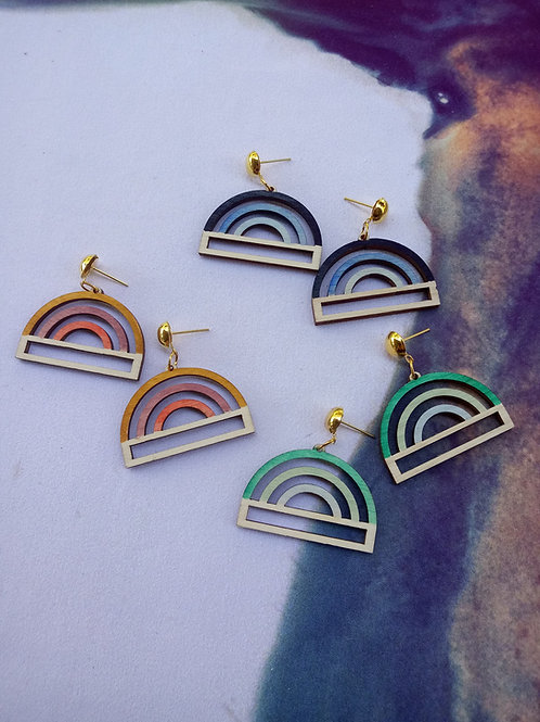 Wood Jewelry - ColorPop Rainbows - Handpainted