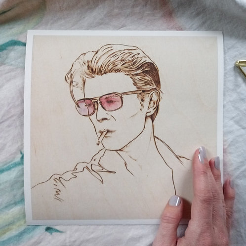Original Wood Burned Art Print - Rose Colored Bowie - Limited Edition