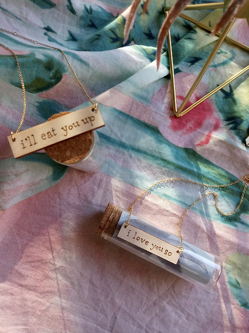 Wild Thing - Wood Burned Necklace Set - Personalized