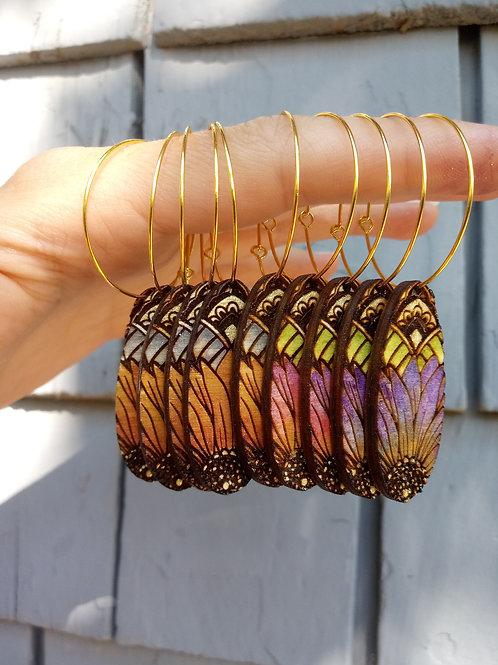 Wood Jewelry - Boho Flower Power - Oval Earring