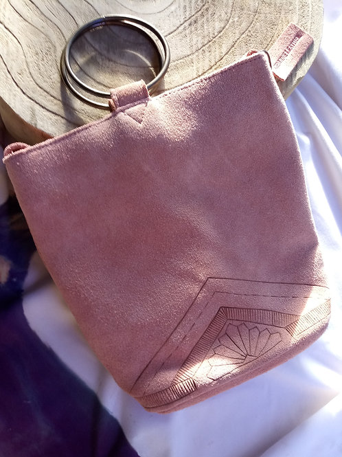 Blush Pink Geometric Genuine Leather Purse/Handbag