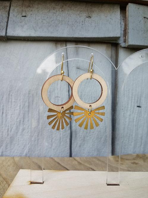 Wood Jewelry - Sunburst Round - Modern Earring