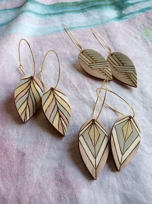 Wood Jewelry - Blush Tri-color Leaf + Hoop Earring