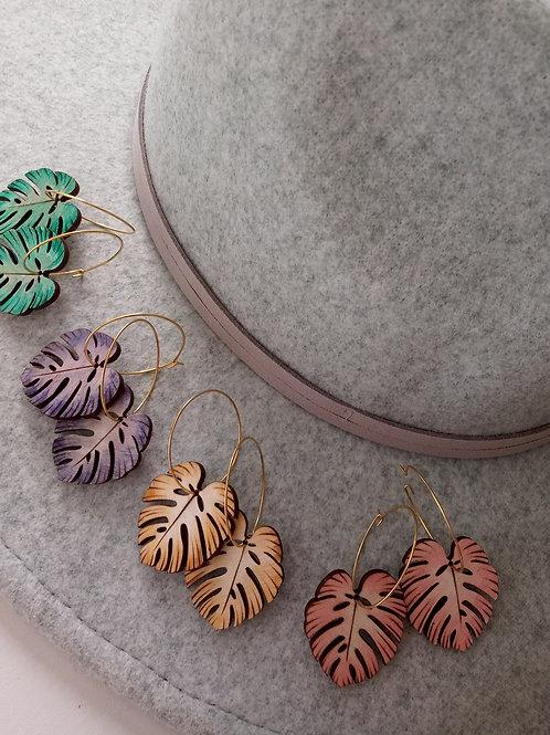 Wood Jewelry - Summer Monstera Leaves - Gold Filled Hoop Earring