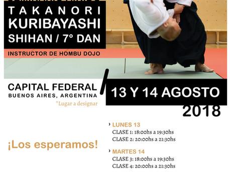 13 y 14 de Agosto - Seminario de Aikido  - Takanori Kuribayashi Shihan - 7mo Dan