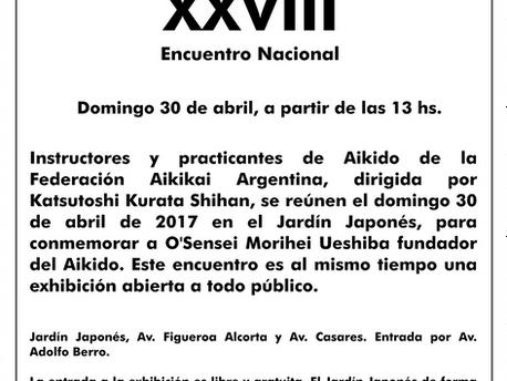 30 de abril - Encuentro Nacional de Aikido XXVIII