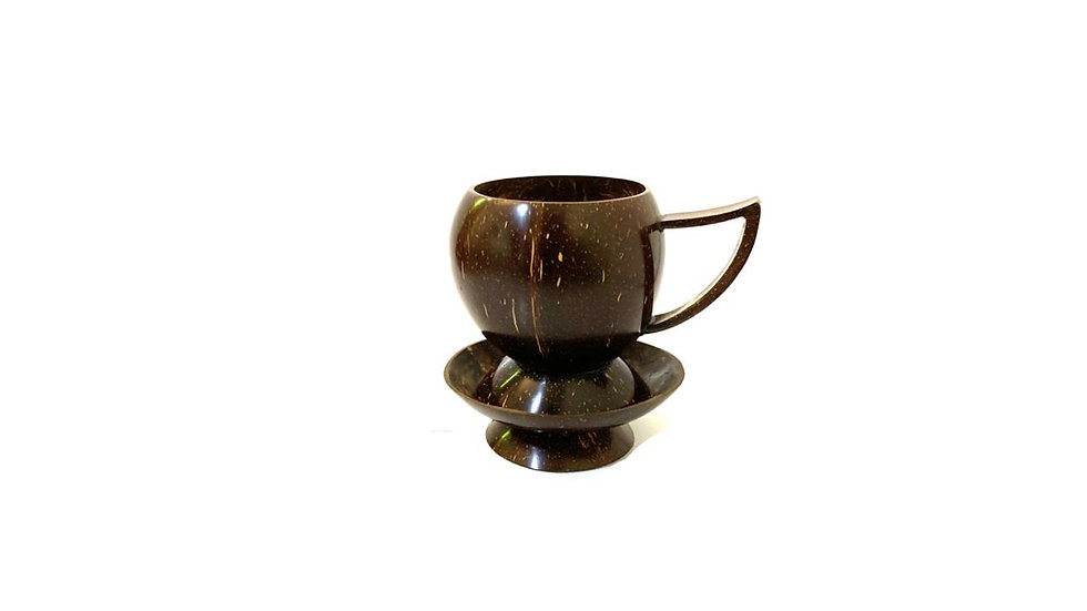 Polished  Coconut Cup and Holder