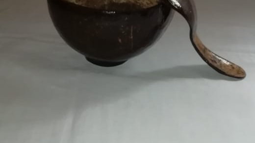 Polished  Coconut Soup Bowl and Spoon
