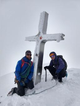 Schlechte Sicht am Ortler Gipfel - aber trotzdem gut drauf