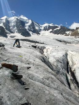 Übung der losen Rolle am Pers Gletscher