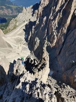 Kletten in der Langkofelgruppe in den Dolomiten
