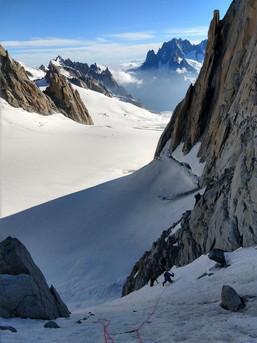 Steile Eisflanke an der Tour Ronde/ Chamonix