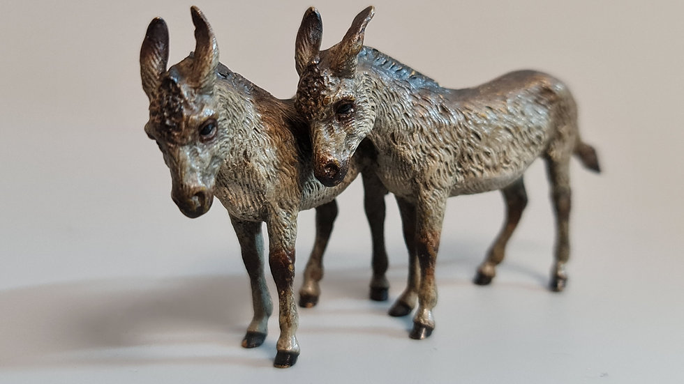 Delightful Rare Austrian  Cold Painted Bronze Pair of Donkeys c1900