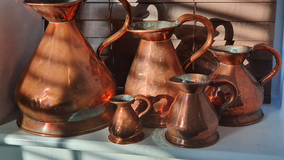 Antique set of 5 x Graduated Copper haystack Jugs Gallon down to Gill